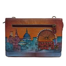 """""""As Is"""" Anuschka Hand-Painted Leather Crossbody Organizer Wallet"""