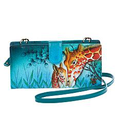 """As Is"" Anuschka Hand-Painted Leather Crossbody Organizer Wallet"