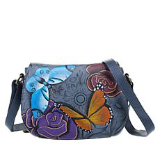 """As Is"" Anuschka Hand-Painted Leather Flap-Front Crossbody"