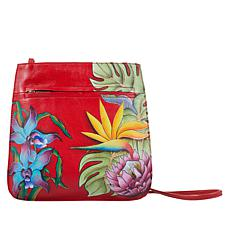 """""""As Is"""" Anuschka Hand-Painted Leather Front-Zip Crossbody Bag"""