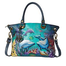 """""""As Is"""" Anuschka Hand Painted Leather Large Satchel"""