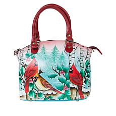 """""""As Is"""" Anuschka Hand-Painted Leather Satchel with Removable Strap"""