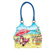 """""""As Is"""" Anuschka Hand-Painted Leather Satchel with Stud Detail"""
