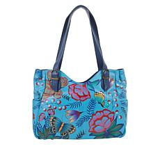 """As Is"" Anuschka Hand-Painted Leather Shopper with Side Pocket"