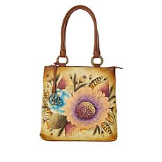 """""""As Is"""" Anuschka Hand-Painted Leather Tri-Compartment Shopper"""