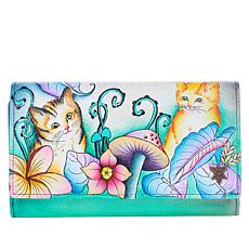 """As Is"" Anuschka Hand-Painted Leather Trifold Wallet"