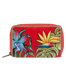 """""""As Is"""" Anuschka Hand Painted Leather Twin Zip-Around Organizer Wallet"""