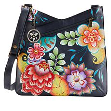 """""""As Is"""" Anuschka Hand-Painted Leather V-Top Crossbody with Organizer"""