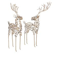 """""""As Is"""" august & leo Set of 2 Reindeer with Glitter and Jewel-Like ..."""
