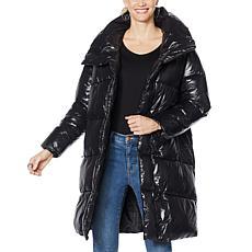 """As Is"" Avec Les Filles Asymmetric Nylon Puffer Coat"