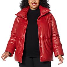 """As Is"" Avec Les Filles Faux Leather Puffer Jacket"