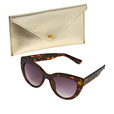 """""""As Is"""" Bethenny Large Cateye Sunglasses with Case and Cleaning Cloth"""