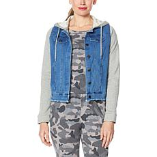 """As Is"" Brittany Humble Sweatshirt Denim Jacket"