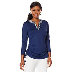 """""""As Is"""" Caya Costa Long Sleeve Embroidered Tunic"""