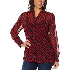 """""""As Is"""" Colleen Lopez Animal Print Button-Down Blouse"""