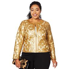 """""""As Is"""" Colleen Lopez Best Dressed Faux Leather and Mesh Jacket"""