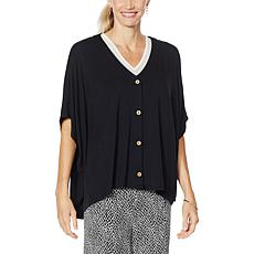 """""""As Is"""" Colleen Lopez Button-Front Oversized Topper"""