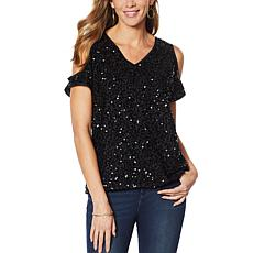 """""""As Is"""" Colleen Lopez Cold-Shoulder Sequin Blouse"""