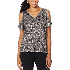 """As Is"" Colleen Lopez Cold-Shoulder Sequin Blouse"