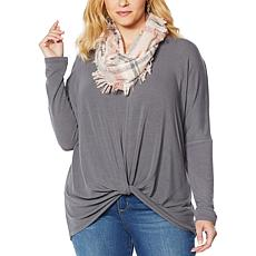 """As Is"" Colleen Lopez Drop-Shoulder Sweater Top with Plaid Scarf"