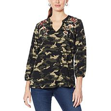 """As Is"" Colleen Lopez Embroidered Camo Top"