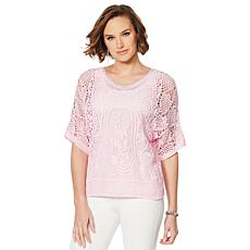 """As Is"" Colleen Lopez Embroidered Crochet Dolman Top"