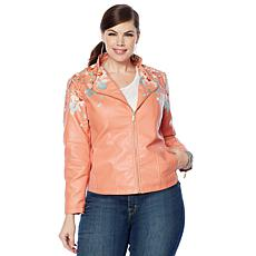 """""""As Is"""" Colleen Lopez Embroidered Faux Leather Jacket"""