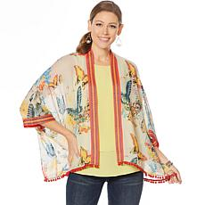 """As Is"" Colleen Lopez Embroidered Kimono Topper with Pompom Trim"