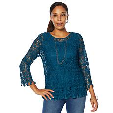 """As Is"" Colleen Lopez Lace Top with Pleated Tank"