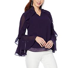 """""""As Is"""" Colleen Lopez Long-Sleeve Beaded Ruffle Top"""