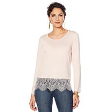 """As Is"" Colleen Lopez Long-Sleeve Jersey Top with Lace Sweep"