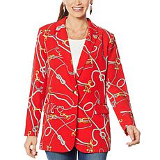 """As Is"" Colleen Lopez Nautical-Print Blazer"