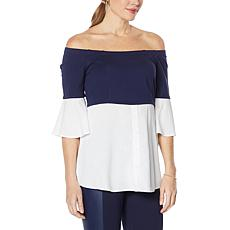 """""""As Is"""" Colleen Lopez Off-the-Shoulder Colorblock Top"""