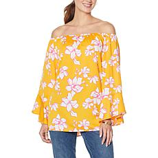 """""""As Is"""" Colleen Lopez Off-the-Shoulder Flutter-Sleeve Print Top"""
