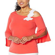 """As Is"" Colleen Lopez One-Shoulder Top with Applique"