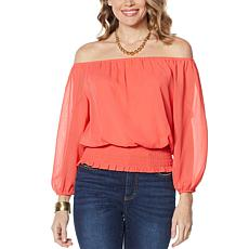 """As Is"" Colleen Lopez Peasant Blouse with Smocked Waist - Fashion"