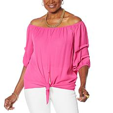 """As Is"" Colleen Lopez Pleated-Sleeve Tie Blouse"