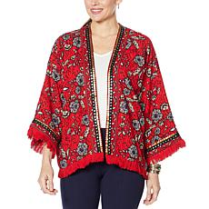 """""""As Is"""" Colleen Lopez Printed Crop Jacket with Fringe Detail"""