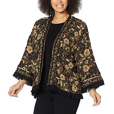 """As Is"" Colleen Lopez Printed Crop Jacket with Fringe Detail"