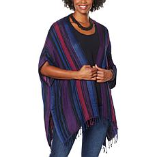 """""""As Is"""" Colleen Lopez Printed Jacquard Ruana with Fringe Detail"""