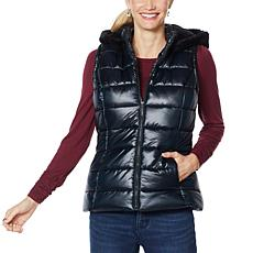 """""""As Is"""" Colleen Lopez Puffer Vest with Detachable Hood"""