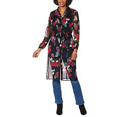 """""""As Is"""" Colleen Lopez Sheer Button-Down Duster Dress"""