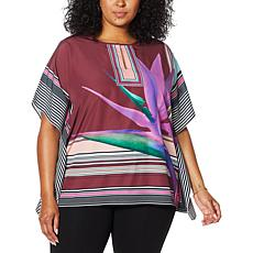 """As Is"" Colleen Lopez Split Neck Printed Woven Poncho"