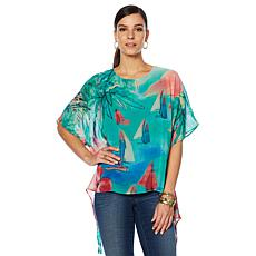 """As Is"" Colleen Lopez Tropical Charm Printed Poncho Top"