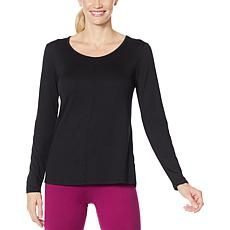 """As Is"" Comfort Code Long-Sleeve Stretch Jersey Scoop-Neck Top"