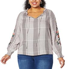 """As Is"" Curations Embroidered Sleeve Plaid Top"