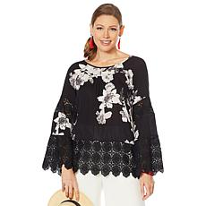 """As Is"" Curations Printed Gauze Lace-Trimmed Blouse"