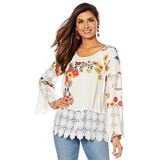 """""""As Is"""" Curations Printed Gauze Lace-Trimmed Blouse"""