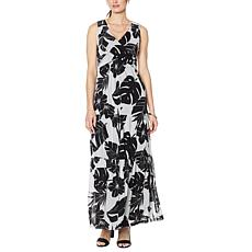 """""""As Is"""" Curations Tiered Mesh Twist Front Maxi Dress"""