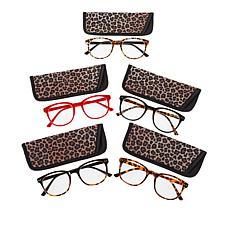 """""""As Is"""" Daisy Fuentes Leopard 5-pack Blue Light Round Readers"""